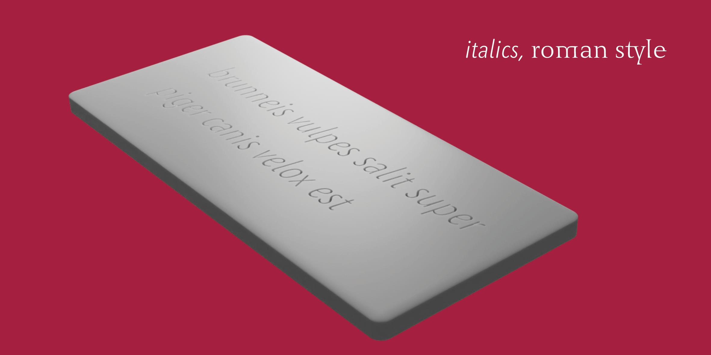 3D-Rendering einer stilisierten römischen Wachstafel mit einer Inschrift (Pangramm) in der Benedikt Kursiv