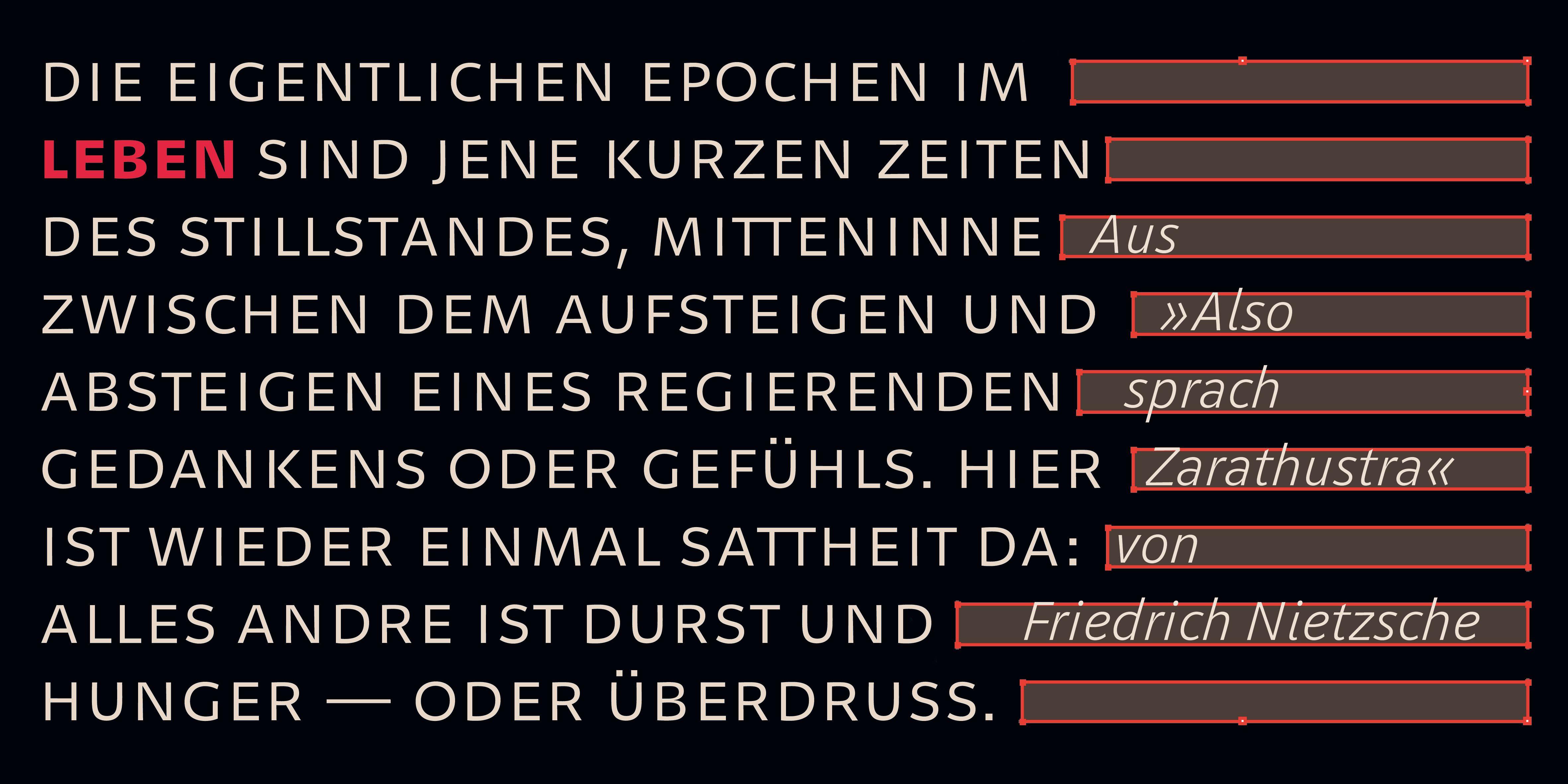 Poster: Typografische Umsetzung eines Nietzsche-Zitats in der Geóso