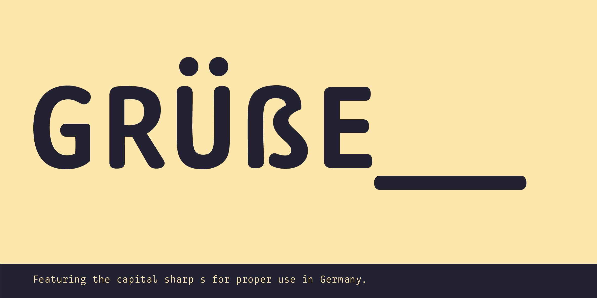 Monoflow Poster: Darstellung des Versal-Scharf-S im Wortkontext (Grüße)