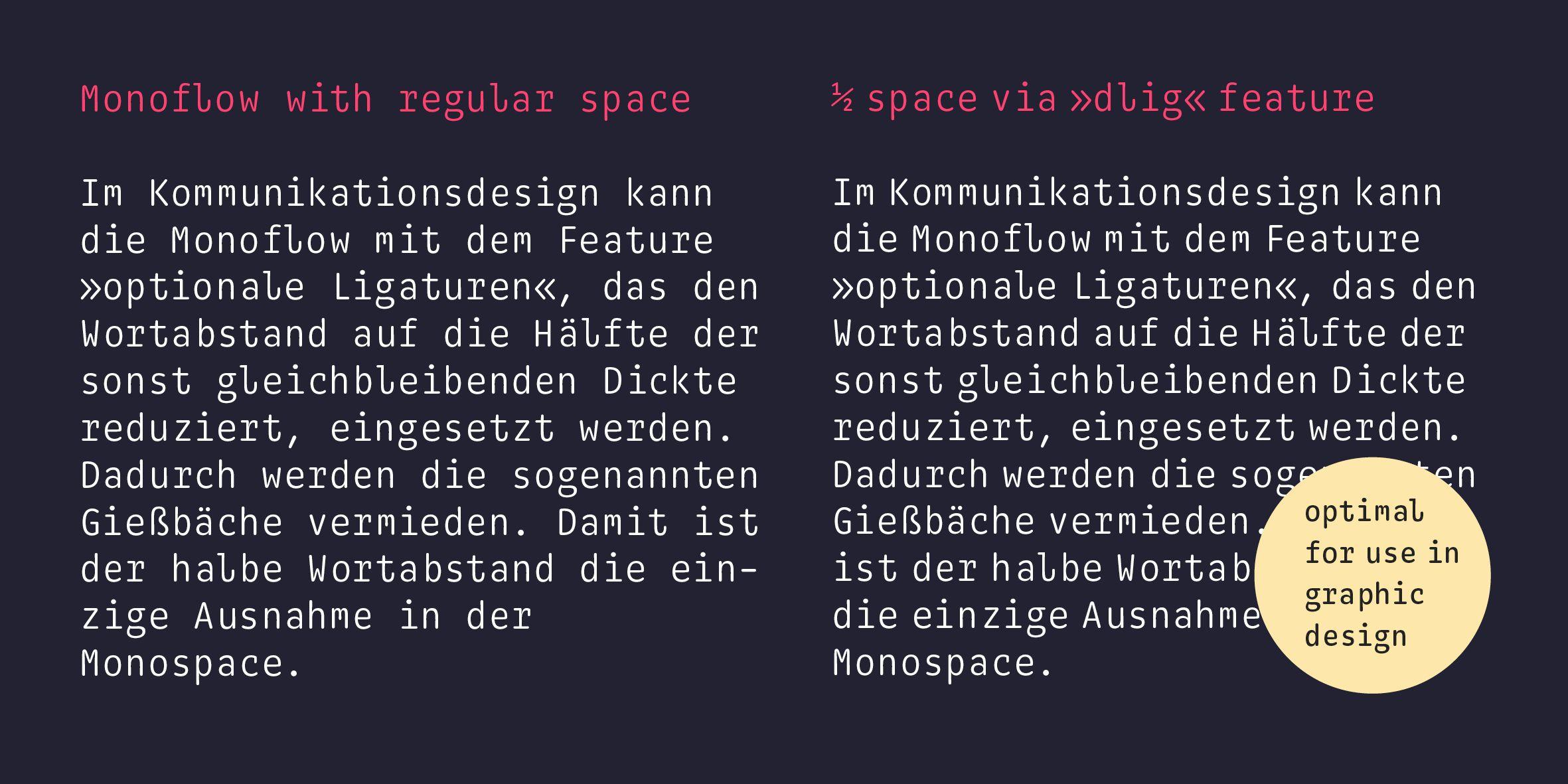 Monoflow Poster: Gegenüberstellung Fließtext mit regulärem Leerzeichen und mit halbem Leerzeichen (integriert via OpenType feature