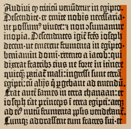 fragment of a column of gutenberg's b42 with emphasis on the slightly ragged right margin
