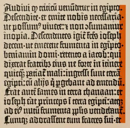Darstellung der unterschiedlichen Zeilenlängen in der Gutenbergbibel