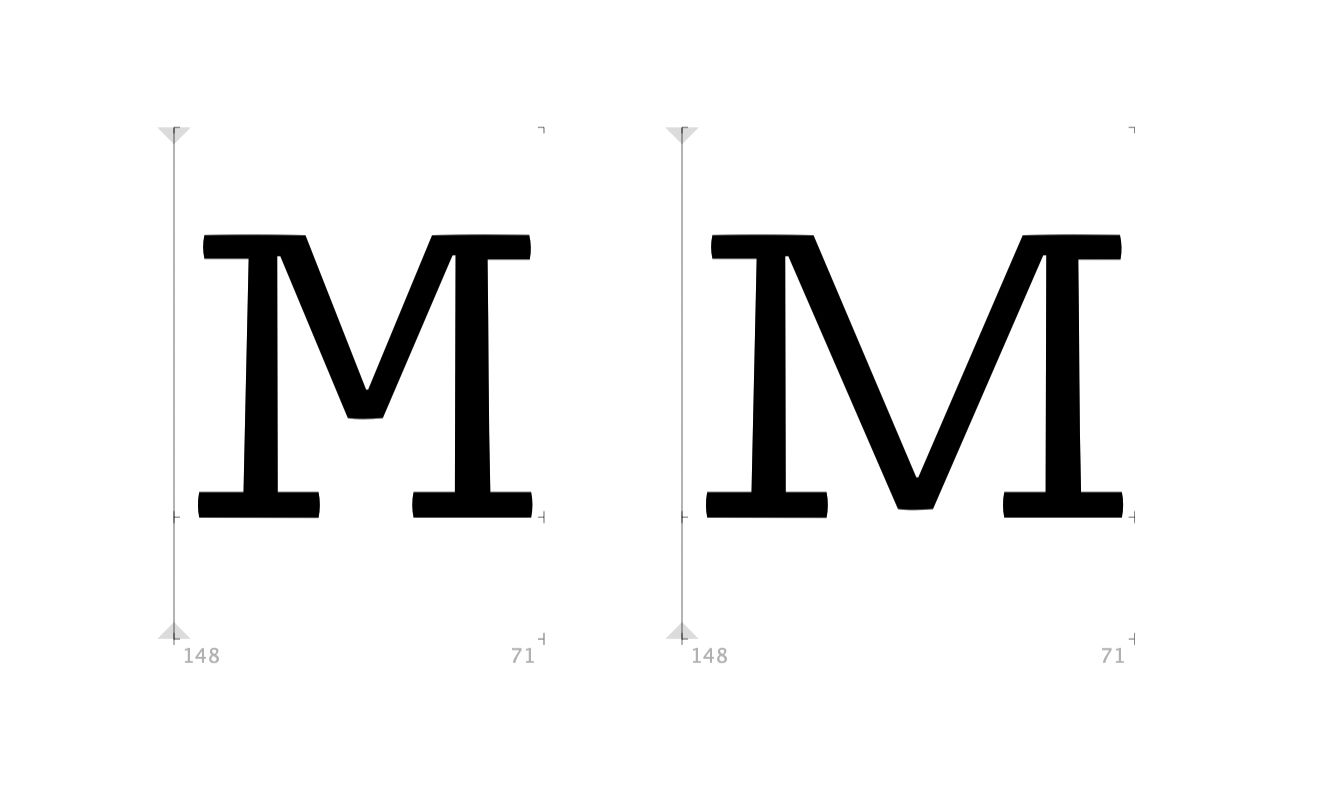 Narrow version and expanded version of the capital M in comparison