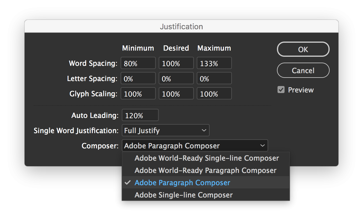 Screenshot of the justification settings in Adobe InDesign where you can choose the Adobe Paragraph Composer.