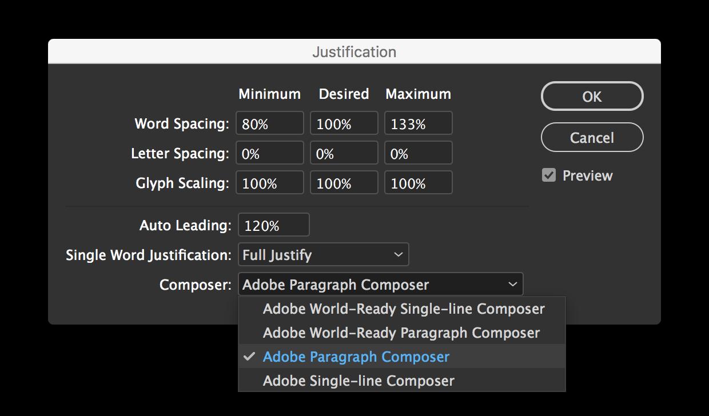 Screenshot: Blocksatz-Einstellungs-Dialog von Adobe InDesign. Hier kann man den Adobe Paragraph Composer einstellen.