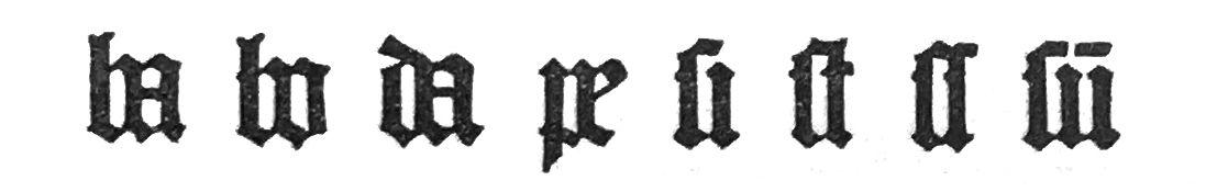 Übersicht über die verschiedenen Ligaturen, die in der Gutenbergbibel vorkommen