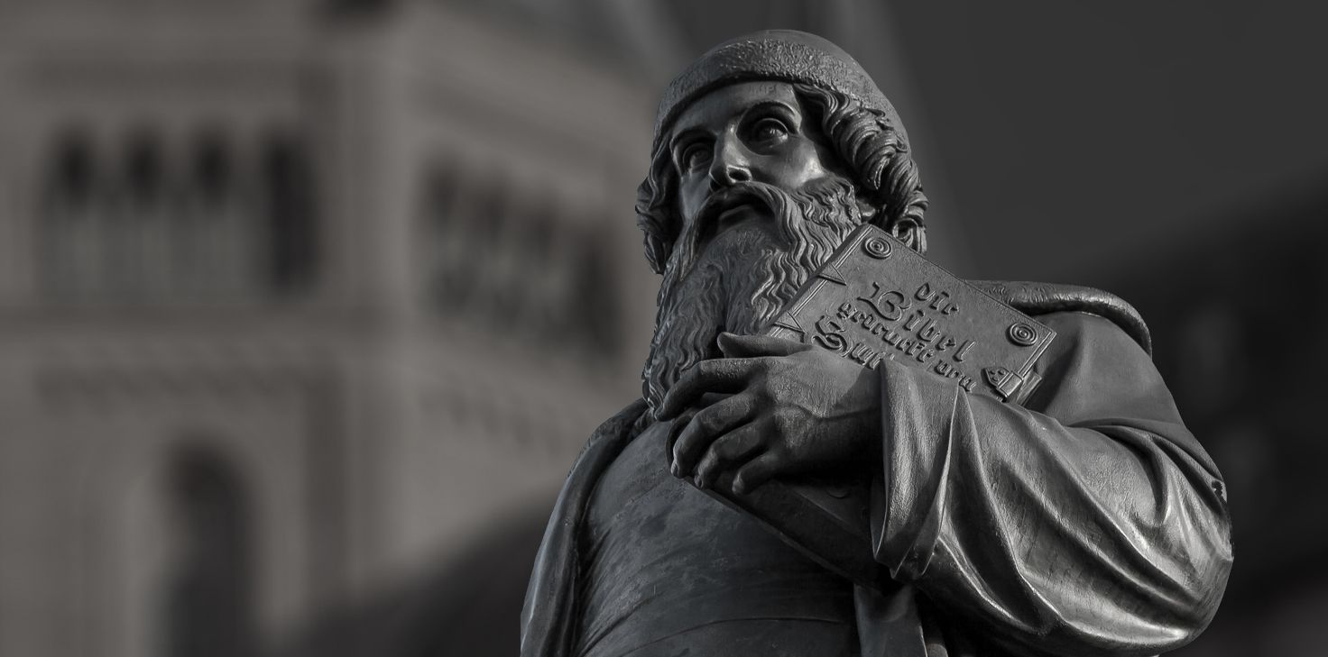 Statue of Johannes Gutenberg in Mainz, Germany, in front of the cathedral
