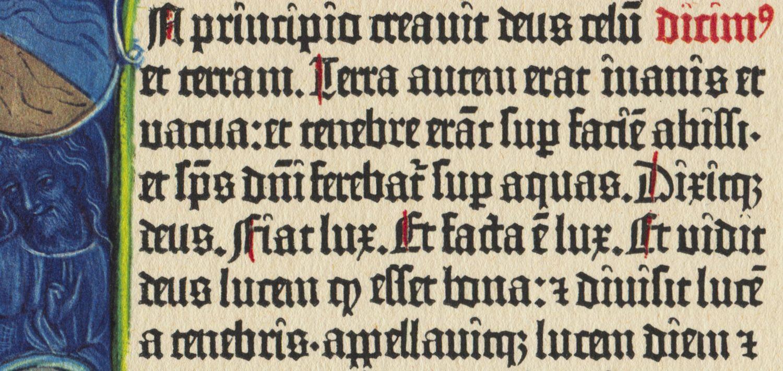 Ausschnitt aus der Gutenbergbibel zeigt die ausgeprägte Abkürzungspraxis