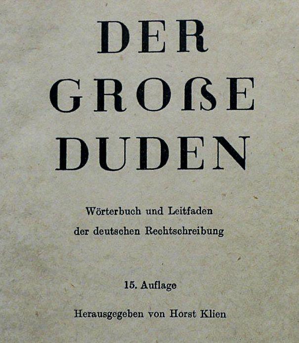 Schmutztitel, Der große Duden, 15. Auflage