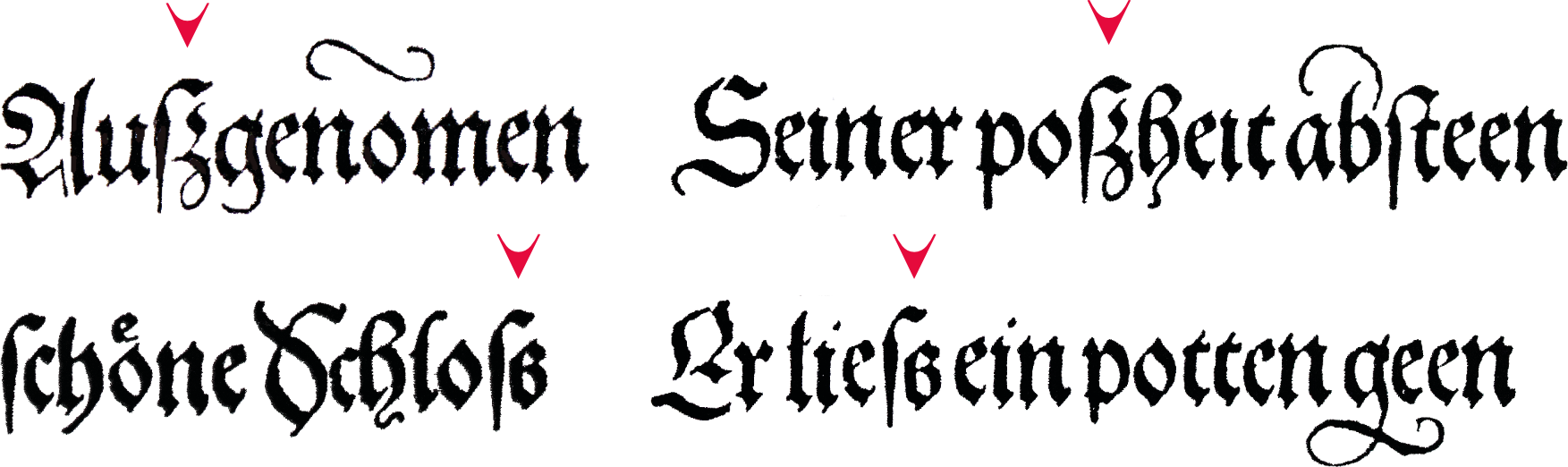 Examples of different versions of the sharp S from Theuerdank